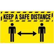 "NoTrax® Keep a Safe Distance Safety Message Mat 3/8"" Thick 3' x 5' Yellow"