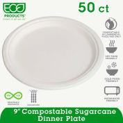 "Eco Products® ECOEPP013PK,  Sugarcane Plates, 9"" Dia., Natural White, 50/Pack"