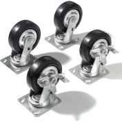 """Caster Kit 5"""" x 1 1/2"""" (4 Swivel, 2 With Brakes) With Mounting Plate"""