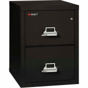"Fireking Fireproof 2 Drawer Vertical File Cabinet - Letter Size 17-11/16""W x 25""D x 28""H - Black"