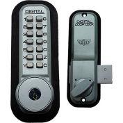 Lockey Digital Door Lock 2200 Surface/Rim Mount with Key Override, Satin Chrome