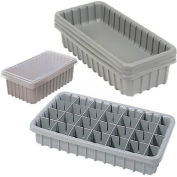 "Dandux Dividable Nesting Plastic Box 50P1816030 -  17-3/4""L x 16-3/8""W x 3""H, Gray - Pkg Qty 3"