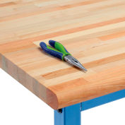 "72"" W x 30"" D x 1-3/4"" Thick Maple Butcher Block Safety Edge Workbench Top"