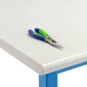 """72"""" W x 30"""" D x 1-5/8"""" Thick, Plastic Laminate Safety Edge Workbench Top, Light Gray"""