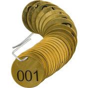 """Brady® 23200 Stamped Valve Tag, 25/Pkg, Brass, 1-1/2"""" Dia., Black/Brass"""
