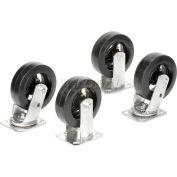 "Global Industrial™ 6"" x 2"" Mold-On Rubber Caster Kit 2 Swivel, 2 Rigid"