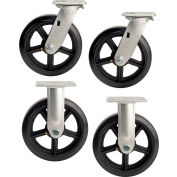 "Global Industrial™ 8"" x 2"" Mold-On Rubber Caster Kit 2 Swivel, 2 Rigid"