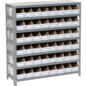 Steel Open Shelving with 48 Corrugated Shelf Bins 7 Shelves - 36x12x39