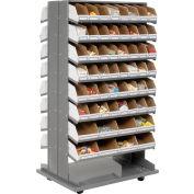 Global Industrial™ Mobile Double Sided Bin Rack - 112 Corrugated White Bins No Print