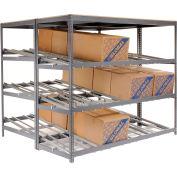 "Global Industrial™ Carton Flow Shelving Double Depth 3 LEVEL 96""W x 96""D x 84""H"