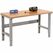 """60""""W X 30""""D Shop Top Safety Edge Work Bench - Adjustable Height - 1 3/4"""" Top - Gray"""