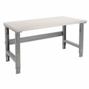 """72""""W X 36""""D Plastic Laminate Safety Work Bench - Adjustable Height - 1-5/8"""" Top - Gray"""