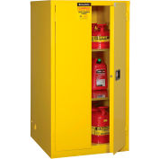 """Global Industrial™ Flammable Cabinet, 60 Gallon Manual Close Double Door, 34""""W x 34""""D x 65'H"""