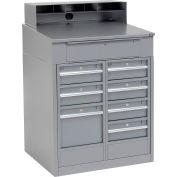 Global Industrial™ Cabinet Shop Desk - 8 Drawers & Pigeonhole Riser 34-1/2 x 30 x 51-1/2 - Gray