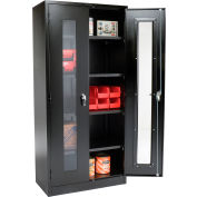 Global Industrial™ Clear View Storage Cabinet Assembled 36x18x78 - Black