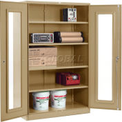 Global Industrial™ Clear View Storage Cabinet Easy Assembly 48x24x78 - Tan