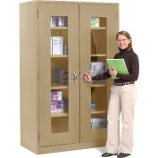 Global Industrial™ Clear View Storage Cabinet Assembled 48x24x78 - Tan
