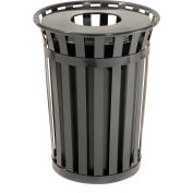 Global Industrial™ Outdoor Steel Slatted Recycling Can With Multi-Stream Lid, 36 Gallon, Black
