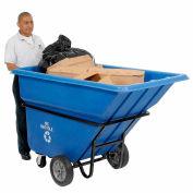 Global Industrial™ Heavy Duty Plastic Tilt Truck, 1 Cu. Yd. Cap,1250 Lbs. Cap, Blue
