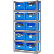 Global Industrial™ Steel Boltless Wood Deck Shelving - 10 Plastic Hopper Bins Blue, 42x15x84