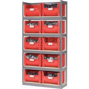 Global Industrial™ Steel Boltless Wood Deck Shelving With 10 Plastic Hopper Bins Red, 42x15x84