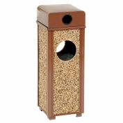 """Global Industrial™ Stone Panel Trash Weather Urn, Brown 2-1/2 Gallon, 10-1/4"""" Square X 28""""H"""