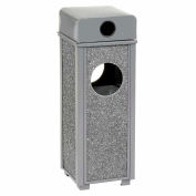 """Global Industrial™ Stone Panel Trash Weather Urn, Gray 2-1/2 Gallon, 10-1/4"""" Square X 28""""H"""