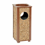 """Global Industrial™ Stone Panel Trash Sand Urn, Brown 2-1/2 Gallon, 10-1/4"""" Square X 24""""H"""