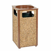 """Global Industrial™ Stone Panel Trash Sand Urn, Brown 12 Gallon, 13-1/2"""" Square X 32""""H"""