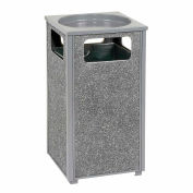 """Global Industrial™ Stone Panel Trash Sand Urn, Gray 12 Gallon, 13-1/2"""" Square X 32""""H"""