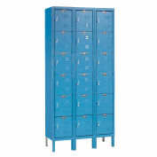 "Hallowell Six Tier 18 Door Premium Steel Locker, 12""Wx12""Dx12""H, Blue, Assembled"