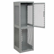 Pucel Heavy Duty Extra Wide Vented Steel Locker Double Tier 24x24x74 2 Door Gray