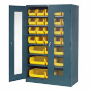 Global Industrial™ Locking Storage Cabinet Clear Door 48x24x78 - 29 Removable Bins Assembled