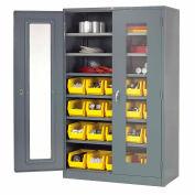 Global Industrial™ Locking Storage Cabinet Clear Door 48x24x78, 20 YL Bin, 6 Shelf Assembled