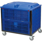 "Collapsible Solid Wall Bulk Container w/ Drop Gate, Lid and Casters 39-1/4""L x 31-1/2""W x 29""H, Blue"
