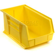 Global Industrial™ Plastic Stack and Hang Parts Storage Bin 8-1/4 x 14-3/4 x 7, Yellow - Pkg Qty 12