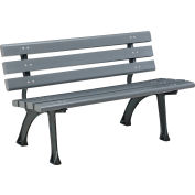 Global Industrial™ Plastic Park Bench With Backrest, 4'L, Gray