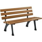 Global Industrial™ 4' Plastic Park Bench With Backrest - Tan