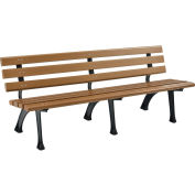 Global Industrial™ 6' Plastic Park Bench With Backrest - Tan