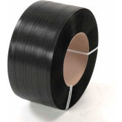 """Global Industrial™ 8"""" x 8"""" Core Polypropylene Strapping, 9000'L x 1/2""""W x 0.018"""" Thick, Black"""
