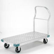 "Global Industrial™ Aluminum Diamond Deck Platform Truck 48x24 2000 Lb. Cap. 6"" Rubber Casters"