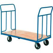 "Global Industrial™ Wood Deck Platform Truck 8"" Mold-On Rubber Wheels 2400 Lb. Capacity"