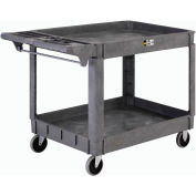 """Global Industrial™ Large Deluxe 2 Shelf Plastic Utility & Service Cart 5"""" Rubber Casters"""