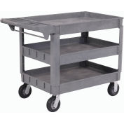 """Global Industrial™ Deluxe Tray Top Plastic Utility Cart, 3 Shelf, 46""""Lx25""""W, 6"""" Casters, Gray"""