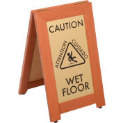 "CAUTION WET FLOOR Sign With Rubber Feet, 12""x20"", Cherry"