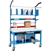 """Global Industrial™ Complete Mobile Packing Workbench W/Power, Laminate Safety Edge, 72""""W x 36""""D"""