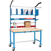 Mobile Electric Packing Workbench Maple Butcher Block Square Edge - 72 x 36 with Riser Kit