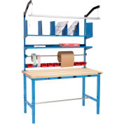 Electric Packing Workbench Maple Butcher Block Square Edge - 72 x 36 with Riser Kit