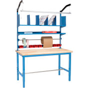 Global Industrial™ Packing Workbench Maple Butcher Block Safety Edge - 72 x 30 with Riser Kit