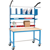 Mobile Packing Workbench Maple Butcher Block Safety Edge - 60 x 36 with Riser Kit
